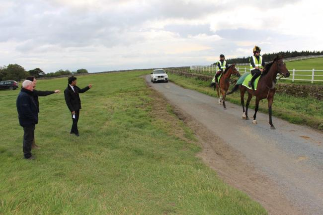 Trainers Jedd and Andrea O'Keefe show Rishi Sunak some of their horses in training on the High Moor, Middleham