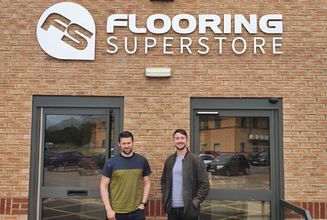 Flooring Superstore managing director Dan Foskett, left, with chief operating officer Michael Roy outside the new offices in Bishop Auckland