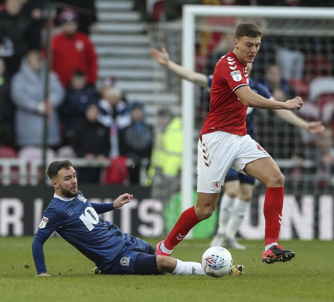Blackburn Rovers' Adam Armstrong vies for possession with Middlesbrough's Dael Fry..Photographer Lee Parker/CameraSport..The EFL Sky Bet Championship - Middlesbrough v Blackburn Rovers - Saturday 1st February 2020 - Riverside Stadium - Middlesbrou
