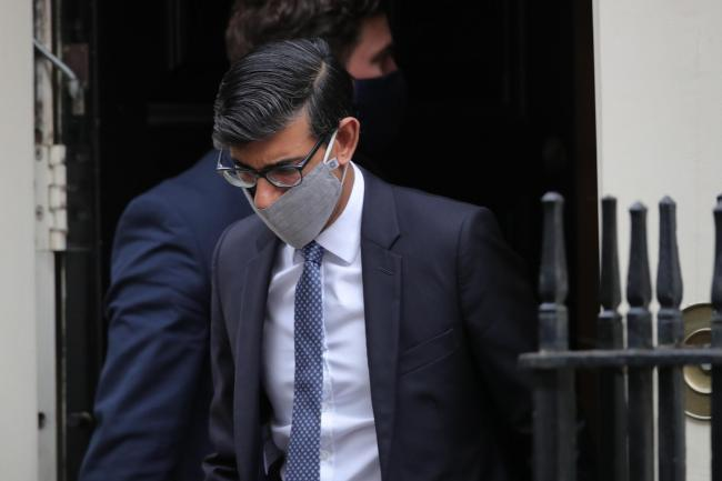 Chancellor of the Exchequer Rishi Sunak leaves Downing Street London.
