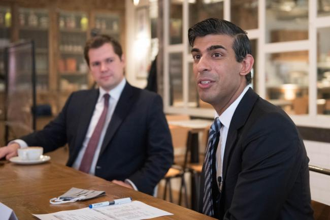 Chancellor of the Exchequer Rishi Sunak (right) with Housing Secretary Robert Jenrick, hosting a roundtable for business representatives at Franco Mana in Waterloo, London. The Chancellor is set to announce a new support package for businesses affected by