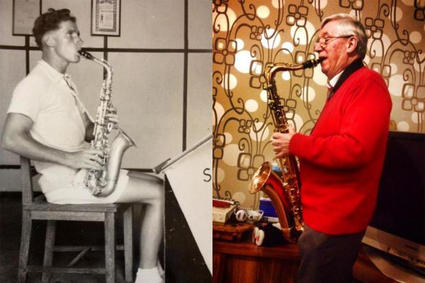 John Lowe with his beloved saxaphone
