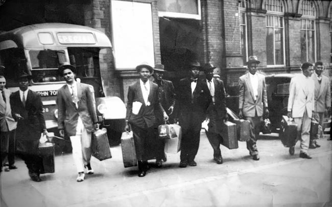 The first group of Caribbean immigrants arrives at Darlington's Bank Top station in 1956
