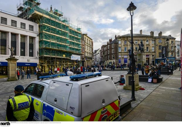 The Northern Echo: The demonstration in Durham Marketplace. Picture: North News