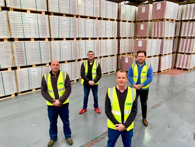 Andy Duce, front, in the Kellars' depot in Shildon with, from left, Ian Booth, depot manager; Ben Paterson, transport manager; and Guy Coser, project manager.