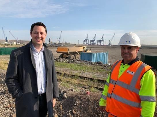 Tees Valley Mayor Ben Houchen with Paul Chambers, who benefited from the Routes to Work scheme, at the Teesworks site