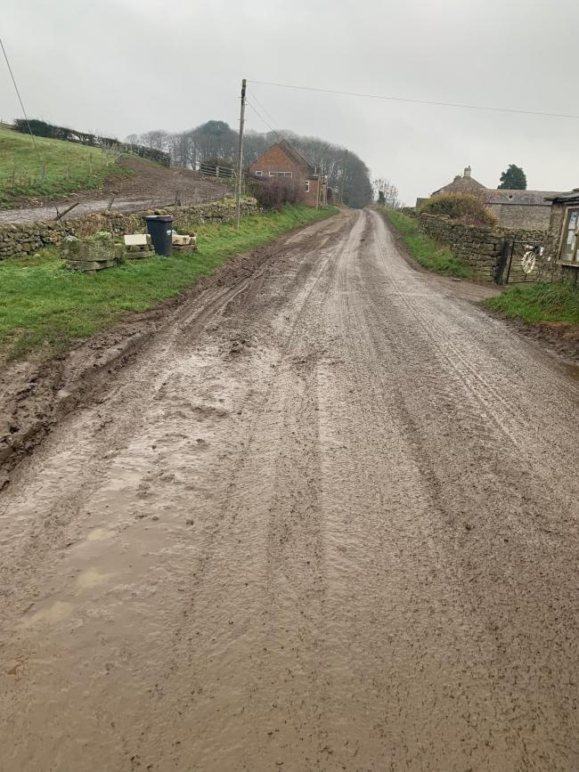 A hazardously muddy road in North Yorkshire