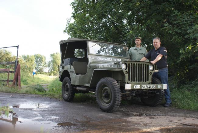 Philip Moore, right, of Boldon Camp Heritage Group with Stephen Carr and his Second World War jeep near the site in East Boldon