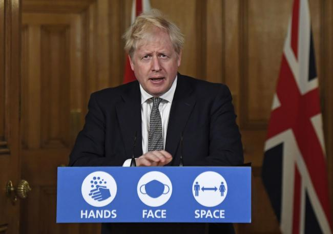 Prime Minister Boris Johnson during a media briefing in Downing Street, London, on coronavirus (COVID-19). PA Photo. Picture date: Saturday October 31, 2020. See PA story HEALTH Coronavirus. Photo credit should read: Alberto Pezzali/PA Wire.