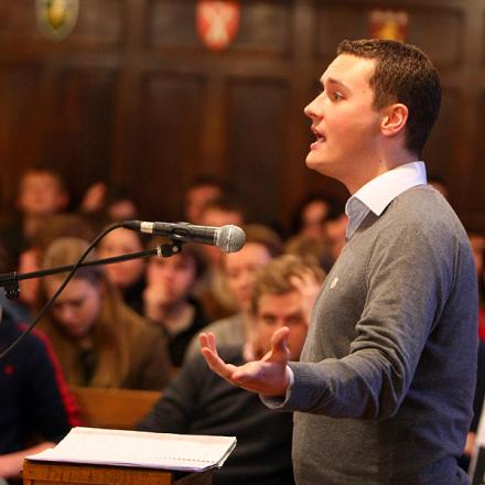 EXPLANATION: National Union of Students president Wes Streeting addresses Durham University students in the debating chamber in Palace Green last night about the cancellation of a debate involving the BNP