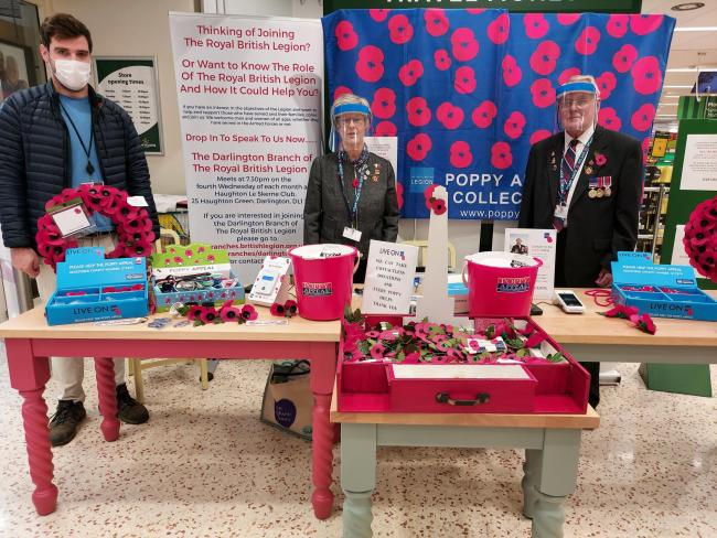Cllr Mike Renton, left, with Pauline and John Hardy of the Royal British Legion on the stand at Morrisons supermarket in Darlington, before lockdown put an end to fundraising activities