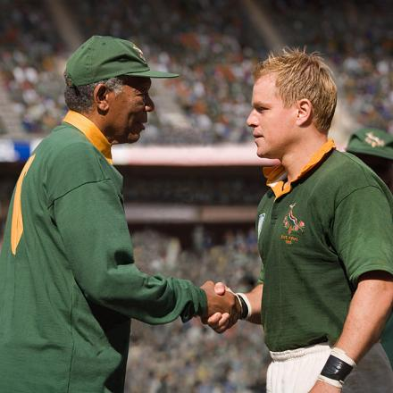 BIG SCREEN: Morgan Freeman and Matt Damon in Invictus