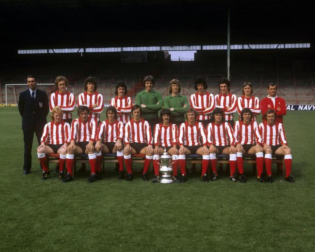 The Sunderland team for the 1973-74 season pictured with the FA Cup which they had won at the end of the 1972-73 season. Bob Stokoe (Manager), Mike McGivan, Vic Halom, John Latham, Trevor Swinburne, Jim Montgomery, Ritchie Pitt, Joe Bolton, Keith Coleman,