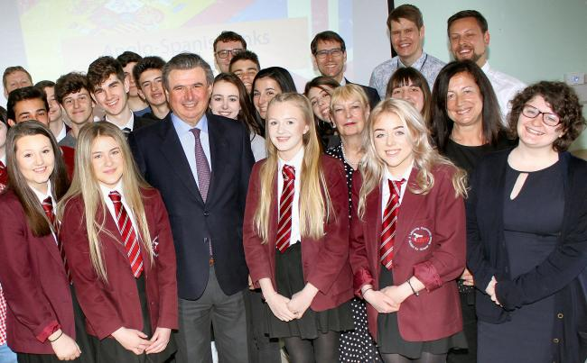 Ambassador for Spain to the UK Carlos Bastarrech with staff and students at St John's Catholic School and Sixth Form College, Bishop Auckland
