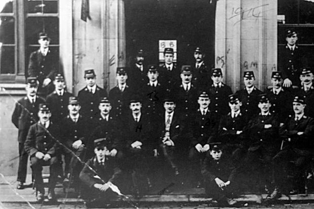 The first Post Office workers in Bishop Auckland on the steps of their new GPO in Tenters Street when it opened in 1912