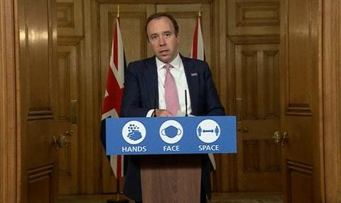 Health Secretary Matt Hancock speaking at the Downing Street press conference on Monday