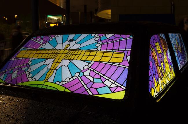 Stained Glass Cars by Twist Design, at Lumiere Durham 2013, produced by Artichoke Picture: Matthew Andrews