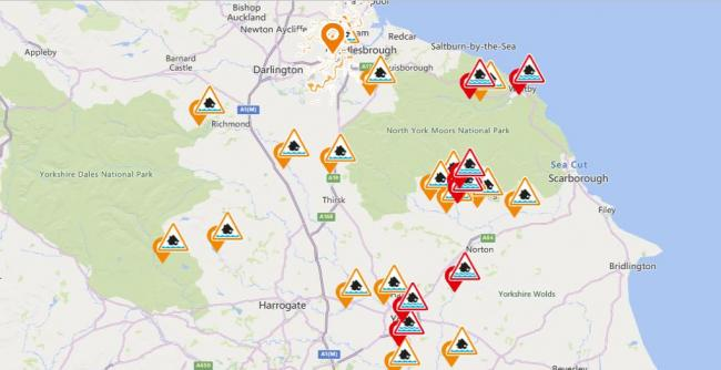 Flood warnings and alerts were issued overnight and remain in place today (Tuesday, January 12) for parts of the North-East and North Yorkshire