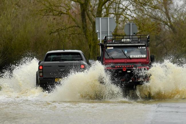 Vehicles in floodwater