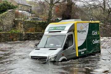 Emergency services battle river to help stranded delivery man