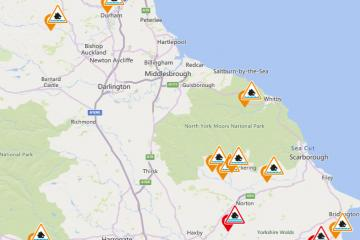 North East and North Yorkshire sees flood alerts after heavy rain