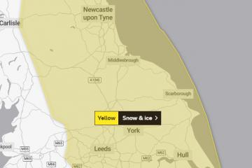 Snow and ice weather warning issued for North East