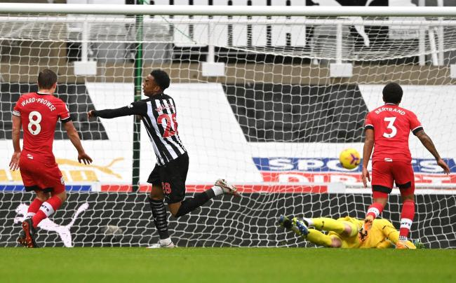 Joe Willock wheels away after scoring for Newcastle in their weekend win over Southampton
