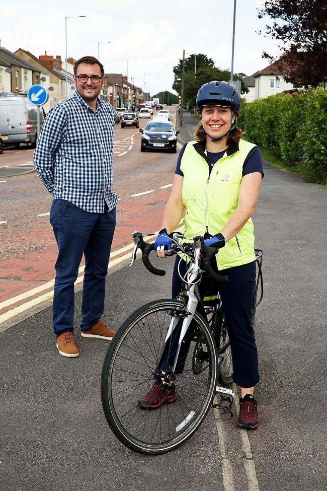 Councillor Carl Marshall and sustainable travel officer Victoria Lloyd-Gent in Durham