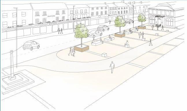 The plan for Northallerton town square with planters