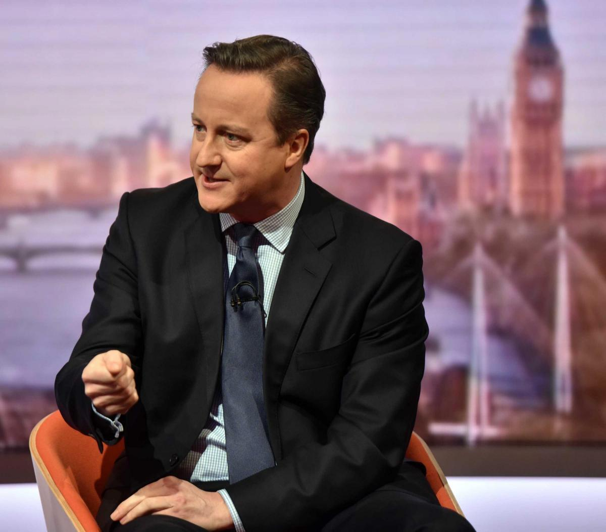Prime Minister David Cameron making the case for Britain staying in the EU on BBC1's The Andrew Marr Show. Picture: JEFF OVERS/BBC/PA WIRE