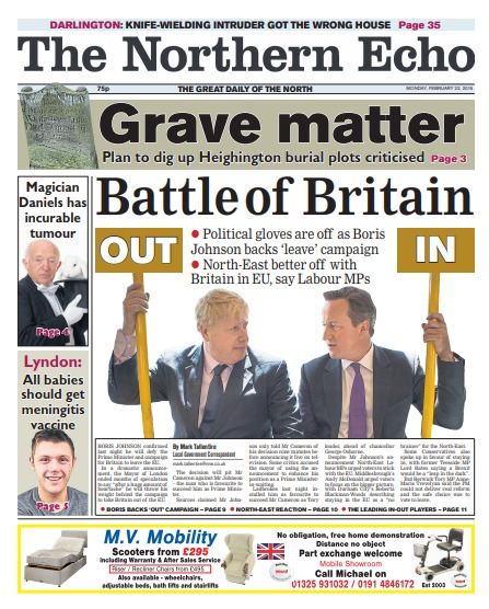 The Northern Echo's report on Boris Johnson's EU announcement