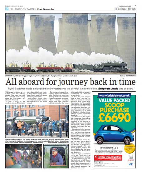 The Northern Echo's report on the return of Flying Scotsman