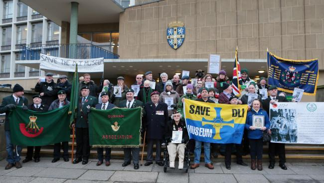 Supporters of the Save the DLI Museum campaign protest outside the council HQ in January. Picture: SARAH CALDECOTT