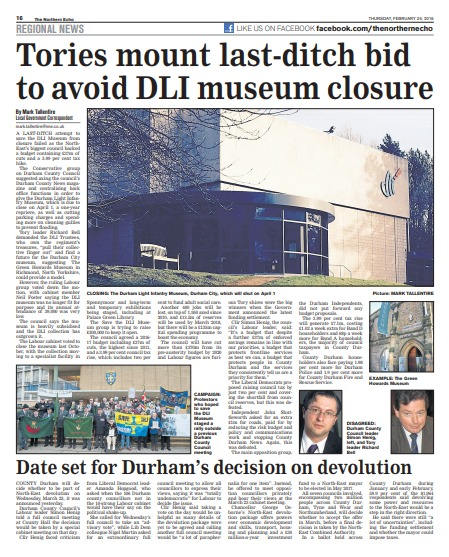 The Northern Echo's report on the Durham Light Infantry Musuem
