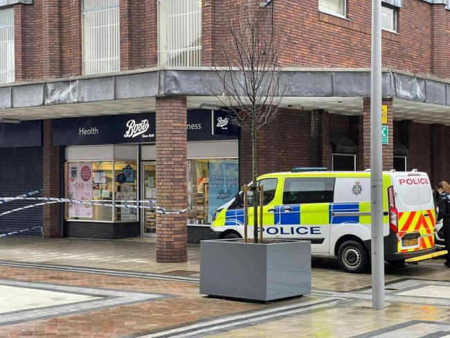 Police at the scene of an incident at Boots pharmacy in Newton Aycliffe Picture: SARAH CALDECOTT