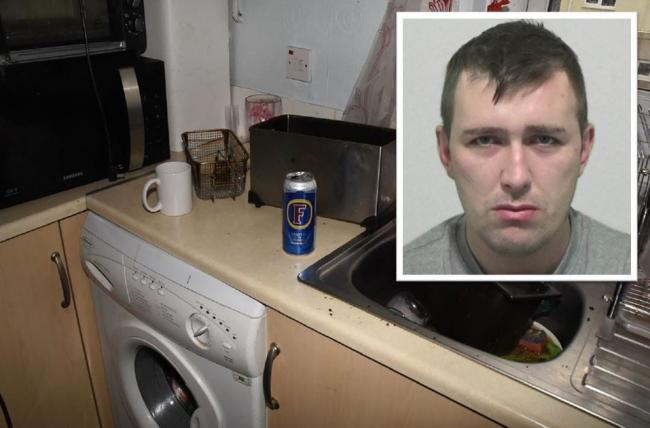 Antoni Adams and the Foster's can left in the flat. Picture: NORTHUMBRIA POLICE