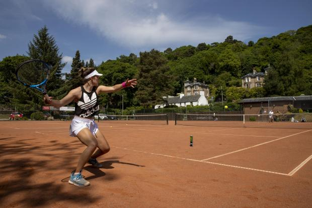 The Northern Echo: British Tennis player Maia Lumsden in action at Bridge of Allan Tennis Club