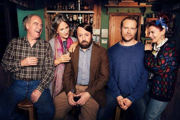 Back on Channel 4, from left, Uncle Geoff (Geoff McGivern), Ellen (Penny Downie), Stephen (David Mitchell), Andrew (Robert Webb) and Cass (Louise Brealey)