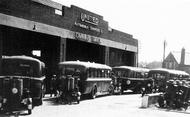 The Northern Echo: This is the United bus station at Northallerton, showing the supersize U at the beginning of United, which was similar to the United Shoe Services logo. In the picture, the buses all have unusual trailers - was this a wartime fuel experiment. Can anyone e