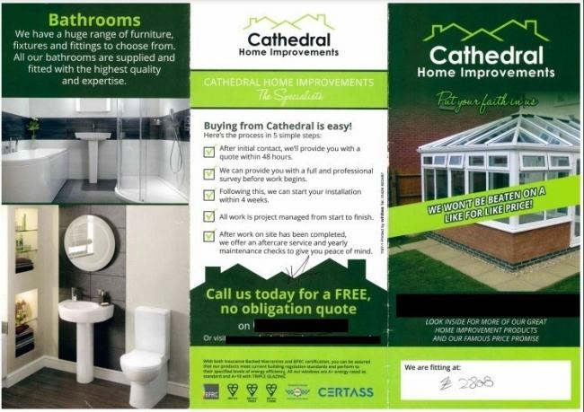 Cathedral Home Improvements' business leaflet