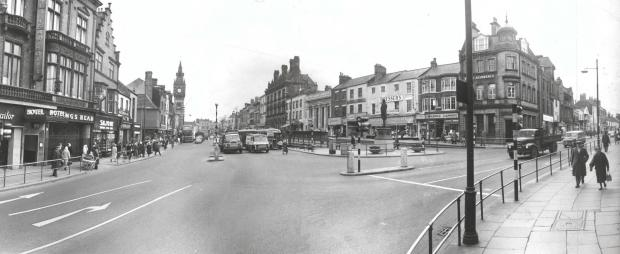 The Northern Echo: High Row, Darlington in 1965 with Bondgate to the right