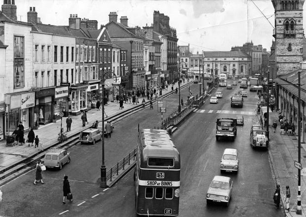 The Northern Echo: The retailers on the left of High Row in early 1966 were Smith's cleaners, John Grisdale, Timothy White, JE Hodgson's chemist, Singer sewing machines, Barratt's shoes, Watson's tobacconist, March the tailor and, on the corner with Post