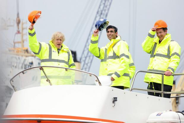 The Northern Echo: Boris Johnson and Rishi Sunak during their visit to Teesport this morning. Picture: ANDREW PARSONS