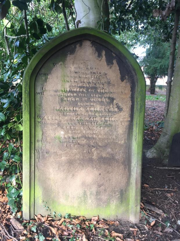 The Northern Echo: The headstone of Boris Johnson's great-great-great-great-grandparents, Walter and Hannah Johnson, in Holy Trinity churchyard, Darlington