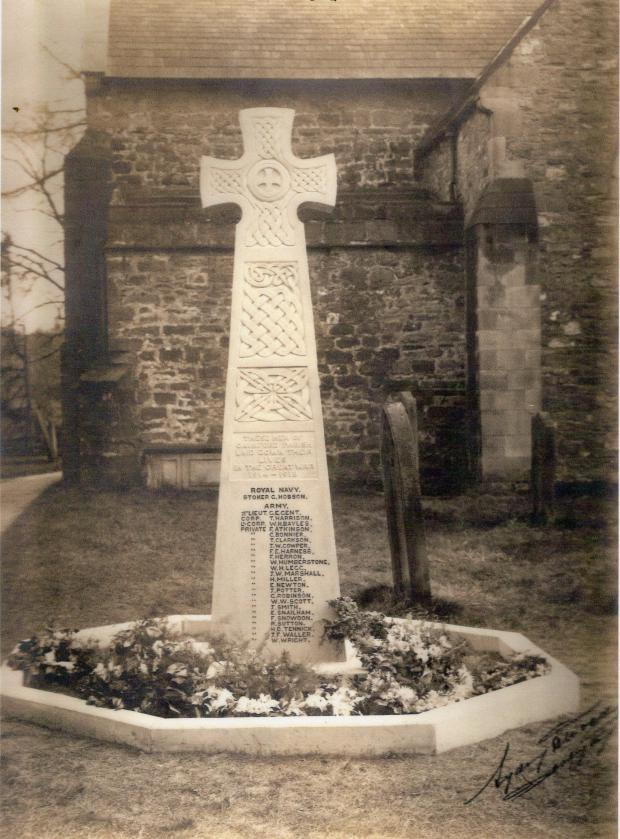 The Northern Echo: Gainford war memorial, probably on the day of its unveiling 100 years ago. Picture courtesy of Mike Stow