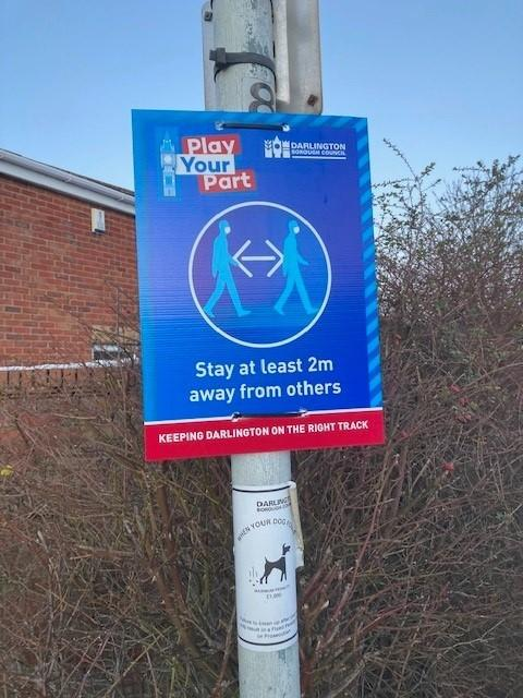 The signs that have been put up by Darlington Borough Council