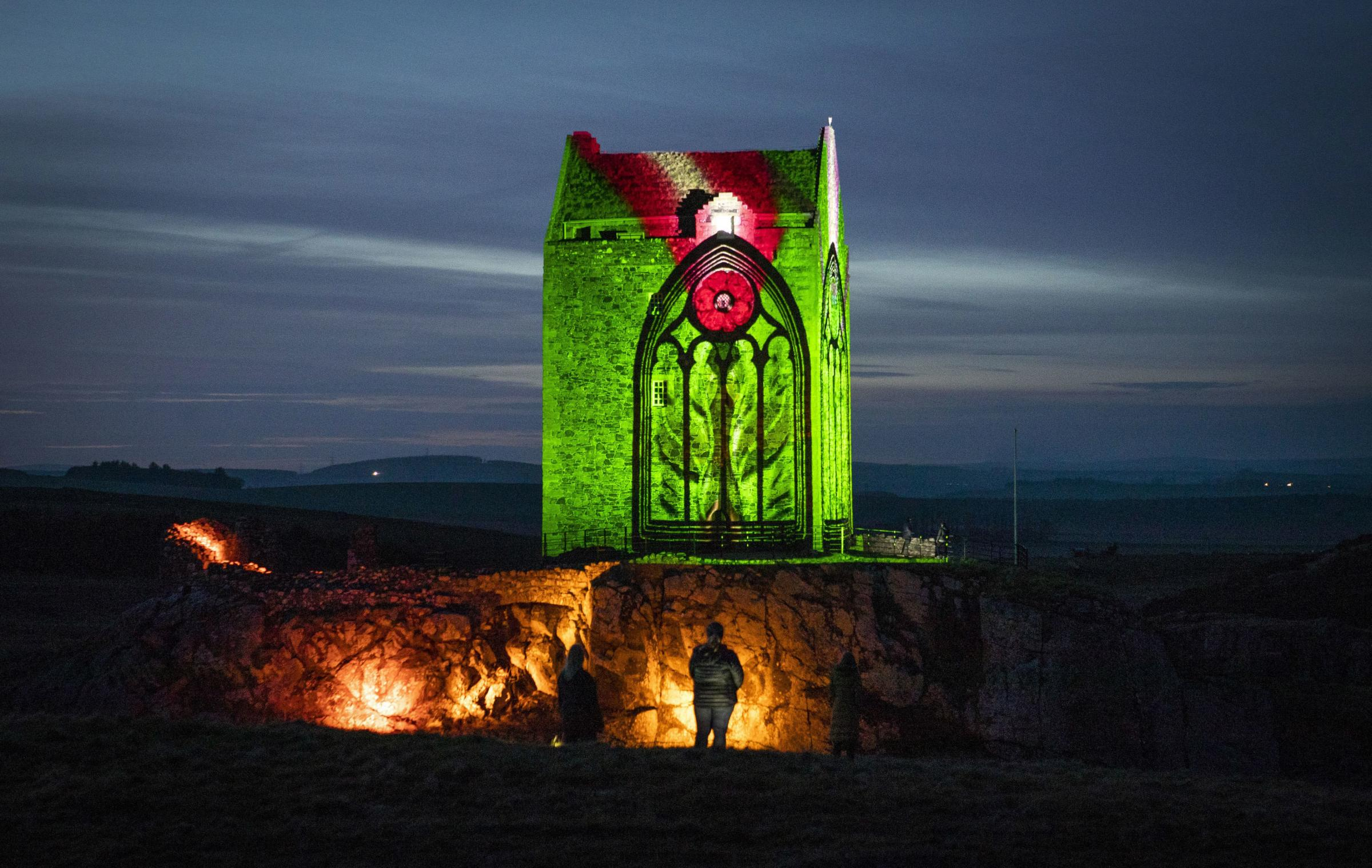 "Smailholm Tower, near Kelso in the Scottish Borders, is lit up by the world premiere of a brand-new short film ""Young Scott"" created by video artist Andy McGregor, to launch the international celebrations for the 250th anniversary of the life"