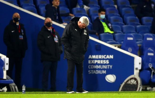 Steve Bruce watched his Newcastle side lose 3-0 at Brighton