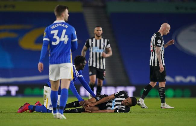 Isaac Hayden suffered a knee injury in Newcastle's 3-0 defeat at Brighton