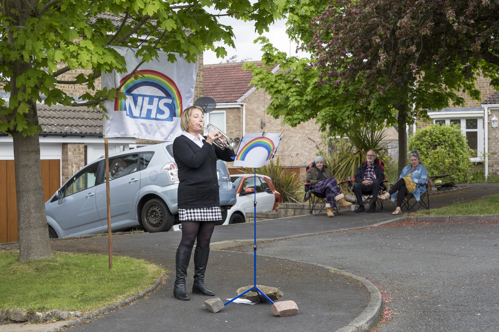 7 May 2020: Elizabeth Bailey playing hymns in the street in Shotley Bridge